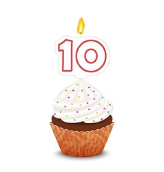 Birthday cupcake with candle number ten shape vector