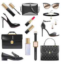 Black female accessories isolated on white vector