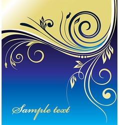 Blue and Gold Floral Design vector image