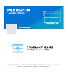 Blue business logo template for audio frequency vector