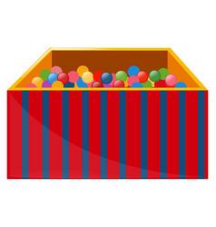 Box full of colorful balls vector