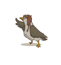 brave seagull cartoon steampunk bird for your vector image
