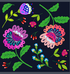 bright cartoon flowers on a dark vector image