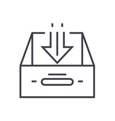 Business inbox linear icon sign symbol vector