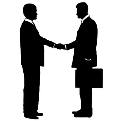 Businessmen shaking hands vector