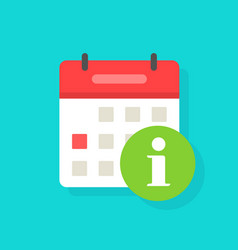 calendar icon with info sign symbol flat vector image