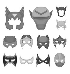 Carnival mask monochrome icons in set collection vector