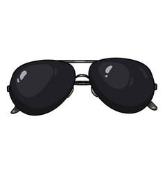 Cartoon black aviator sunglasses in metal rim vector