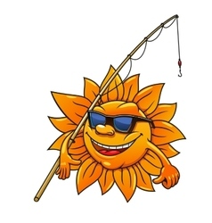 Cartoon sun in sunglasses with fishing rod vector image