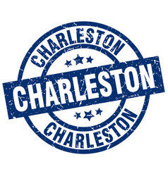 Charleston blue round grunge stamp vector