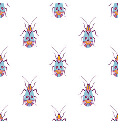 colorful beetle seamless pattern vector image