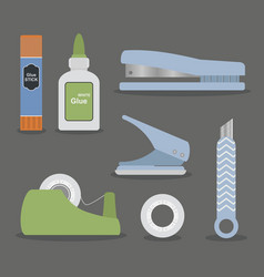 Colorful flat design stationary tools set vector