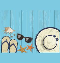 conceptual summer vertical banner on blue wooden vector image