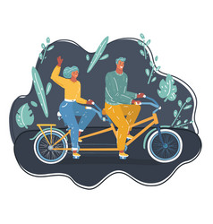couple riding on tandem bicycle outdoors vector image