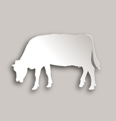 Cow grazing paper style vector