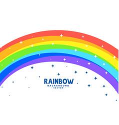 Curve rainbow arc with stars background vector