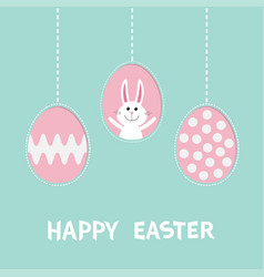 cute rabbit hare with tie bow three painting egg vector image