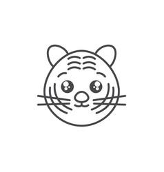 Cute tiger wild animal line style icon vector