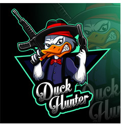 Duck hunter esport mascot logo design vector