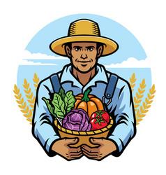 Farmer holding a basket full of vegetables vector