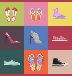 fashionable shoes collection advertising poster vector image