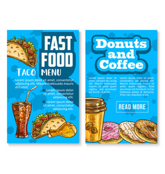fast food snacks and meals menu sketch poster vector image