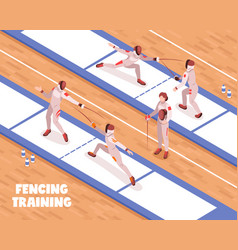 Fencing saloon training background vector