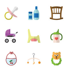 Flat icon child set of cream with lotion nipple vector