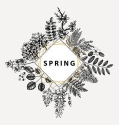 floral wedding invitation rsvp greeting card vector image