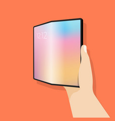 Foldable screen phone in hand vector