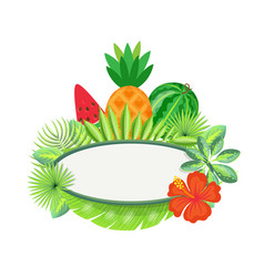 Frame with tropical fruits exotic leaves isolated vector