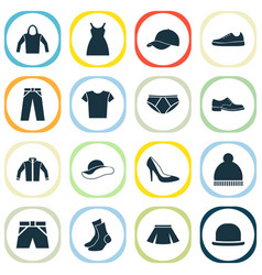 Garment icons set collection half-hose casual vector