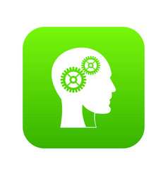 gears in human head icon digital green vector image