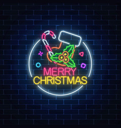 glowing neon christmas sign with christmas sock vector image