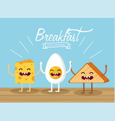 Happy fried egg with cheese and triangle bread vector
