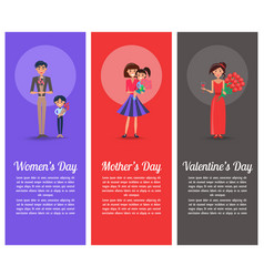 Happy man and boy with flowers women with gifts vector