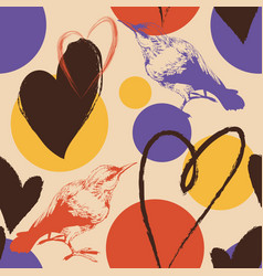 hearts birds and abstract color spots seamless vector image