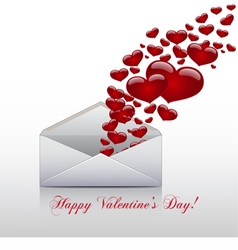 Hearts take off from inside open envelope vector image