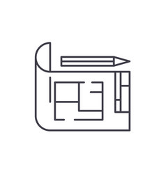 house design line icon concept house design vector image