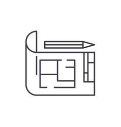 house design line icon concept house design vector image