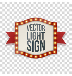 illuminated sign with bulbs and decorative ribbon vector image