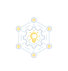 Innovations and creative ideas line icon vector