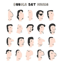 Isolated mens heads with different facial vector image