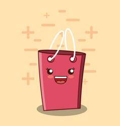 kawaii shopping bag icon vector image