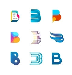 Letter B logo set Color icon templates design vector image