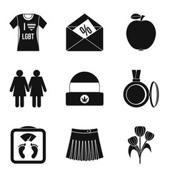 Lgbt icons set simple style vector