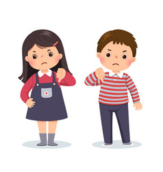 little boy and girl showing thumbs down vector image