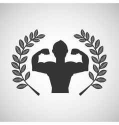 man body builder sport emblem laurel branch vector image