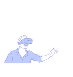 man wear vr modern 3d glasses playing virtual vector image