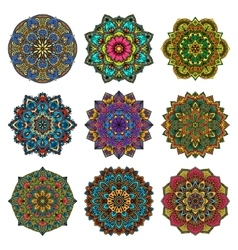 Mandala pattern flower set vector